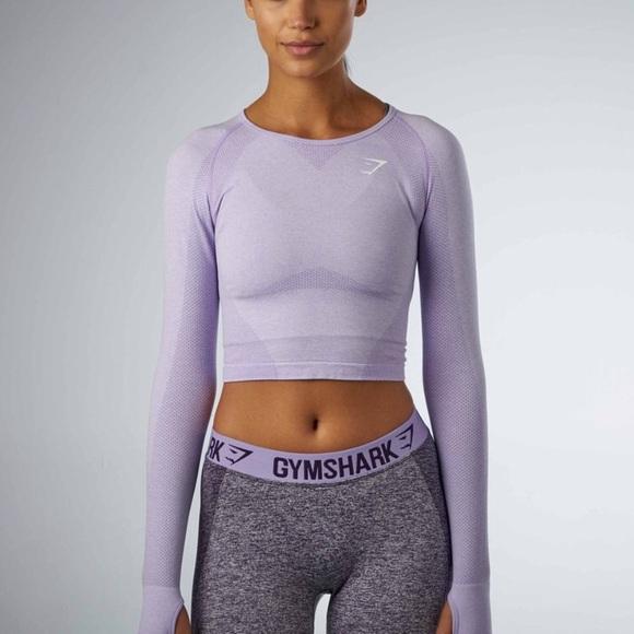 cbb97af3cac50c Gymshark Tops - Lilac Gymshark Crop Seamless Long sleeve Small